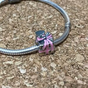 Retired Pink Ribbon Present Pandora Charm